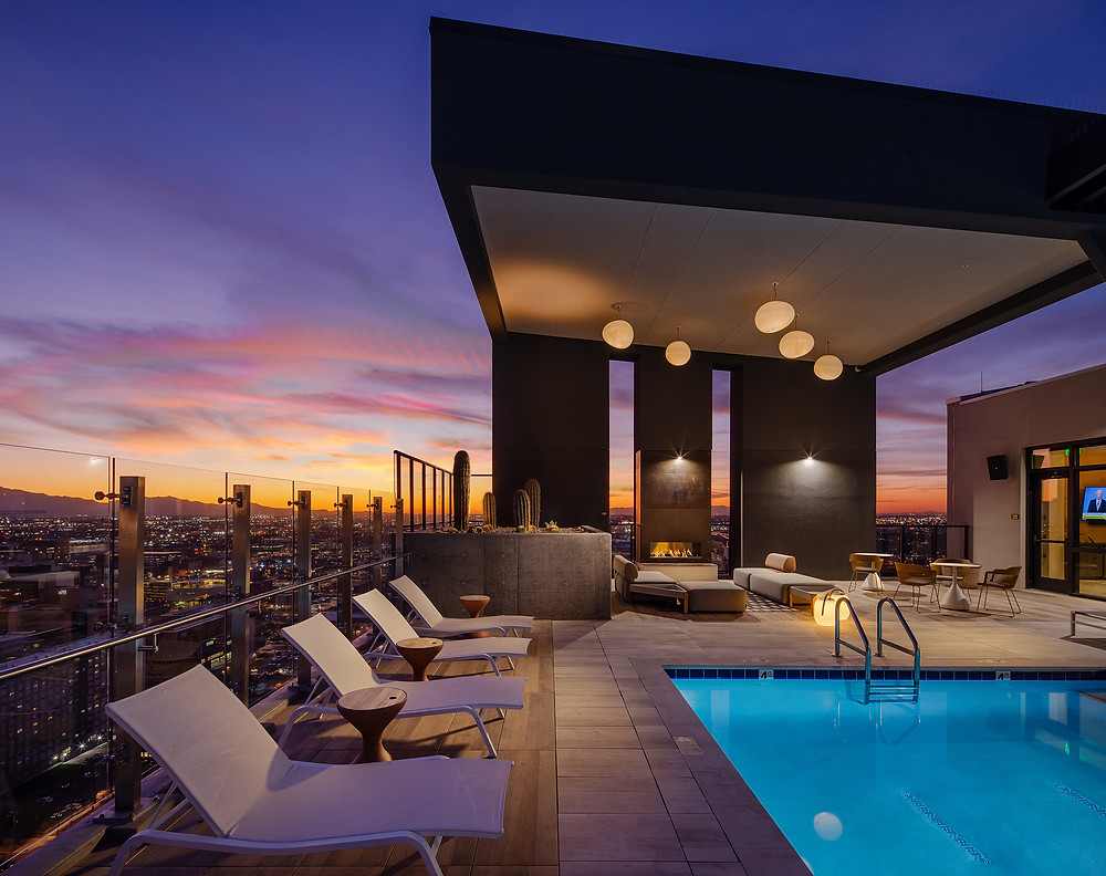 Pool deck at sunset in Phoenix