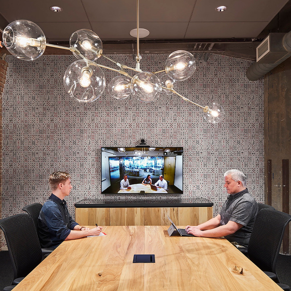 Conference Room with Exposed Brick and Brass Chandelier in Confidential Chicago Financial Firm | Kuchar