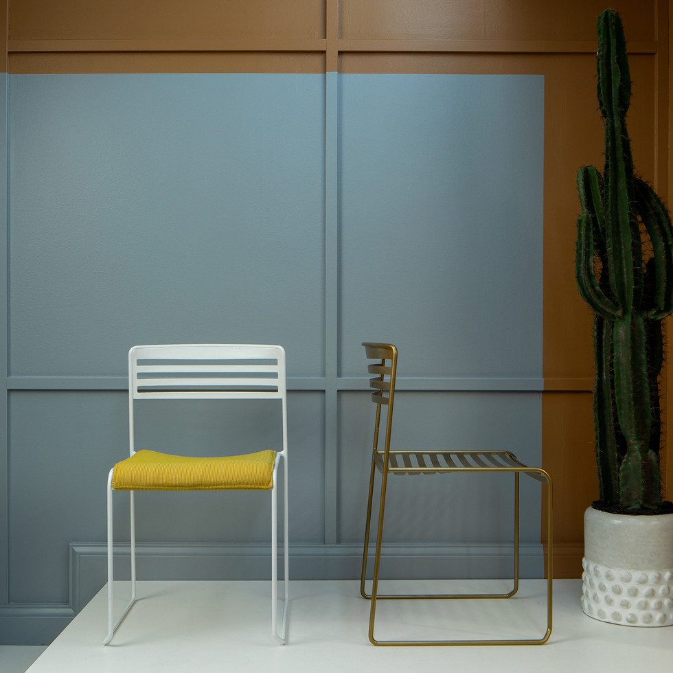 Yellow, Brown, Blue, and White Colorblocking for Source International Seating | Kuchar