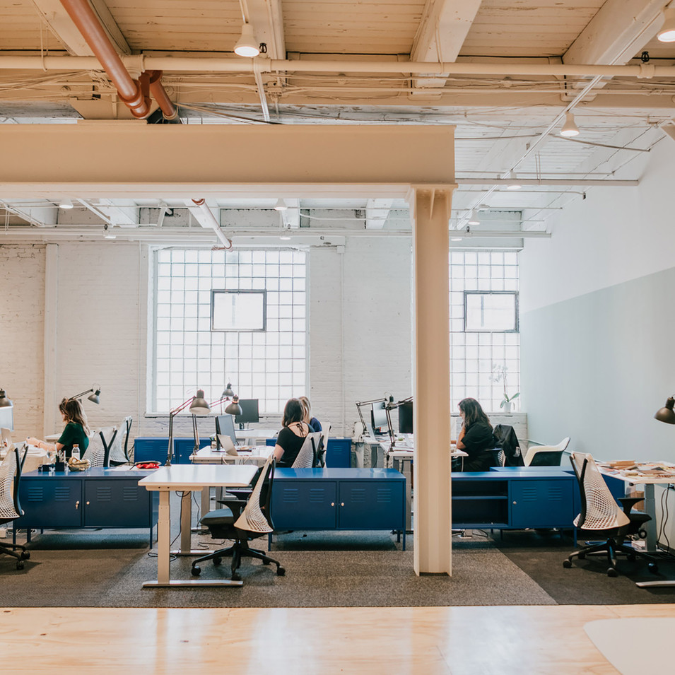 Exposed Ceiling and Bright Accents for Studio Hub | Kuchar