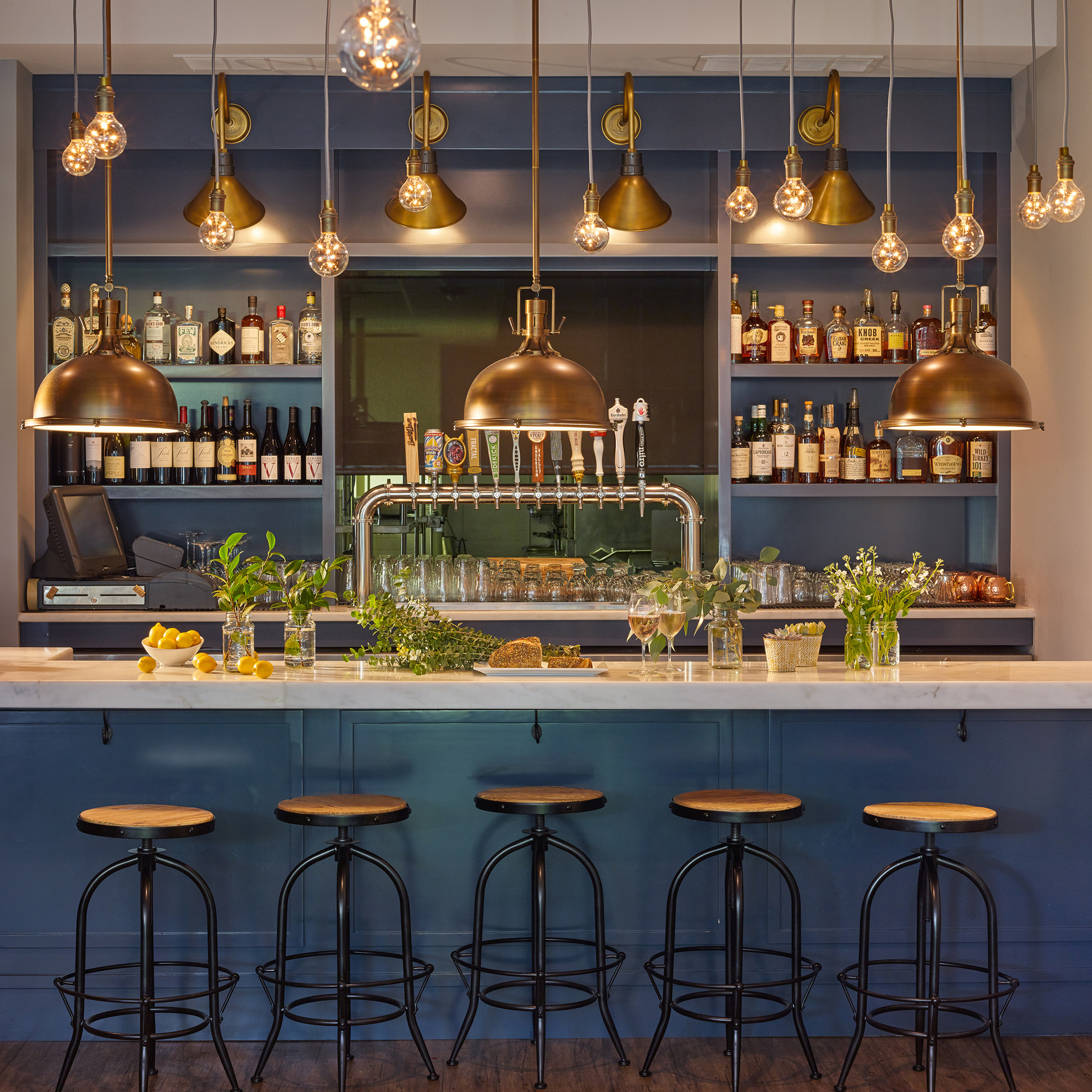 Deep Blue Bar and Brass Lighting for Firefly Kitchen | Kuchar