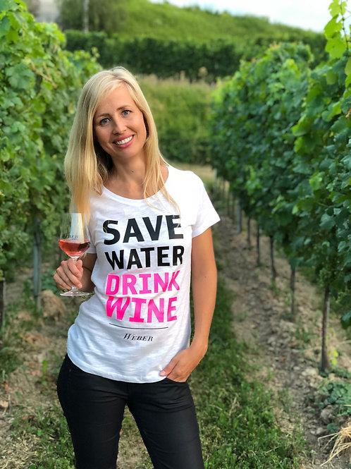 T-SHIRT SAVE WATER DRINK WINE – weiß/neonpink