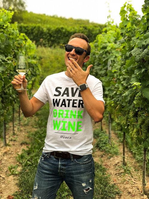 Männer T-SHIRT SAVE WATER DRINK WINE – weiß/neongrün