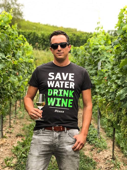 Männer T-SHIRT SAVE WATER DRINK WINE – schwarz/neongrün