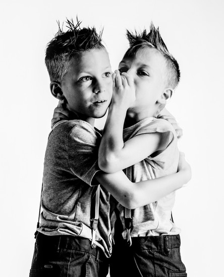 Photograph of twins with Epilespy.