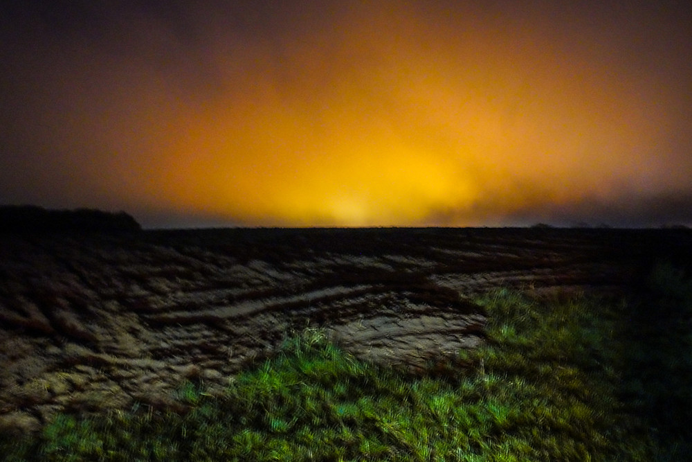 A Farm in Riverhead NY lights up one night.