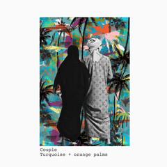 Couple + turquoise and orange palm