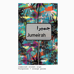 Jumeirah + turquoise and orange palms