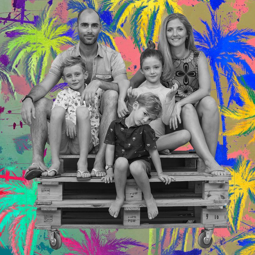 Multicoloured palm trees