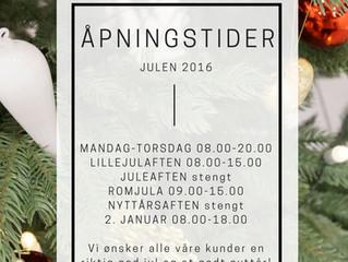 Åpningstider - Julen 2016