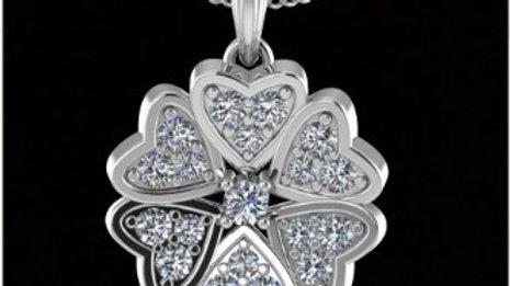 Full Diamond Flower Pendant