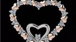 Double Heart Gold Diamond Pendant