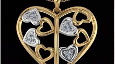 Hearts in Heart Diamond Pendant