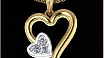 Open Heart Gold Diamond Pendant