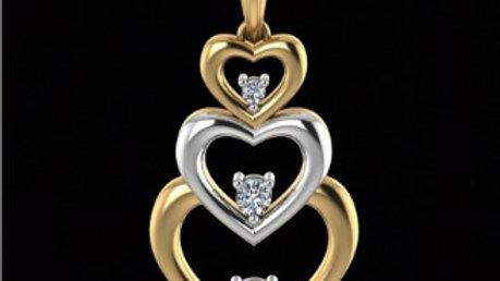 Triple Heart with Diamonds Pendant