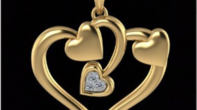 Triple heart in Gold Pendant