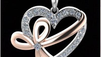 Ribbon Heart Diamond Pendamt
