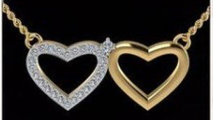 2 Heart Gold And Diamond Pendant