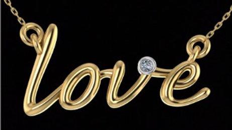 """Love"" Gold Pendant"