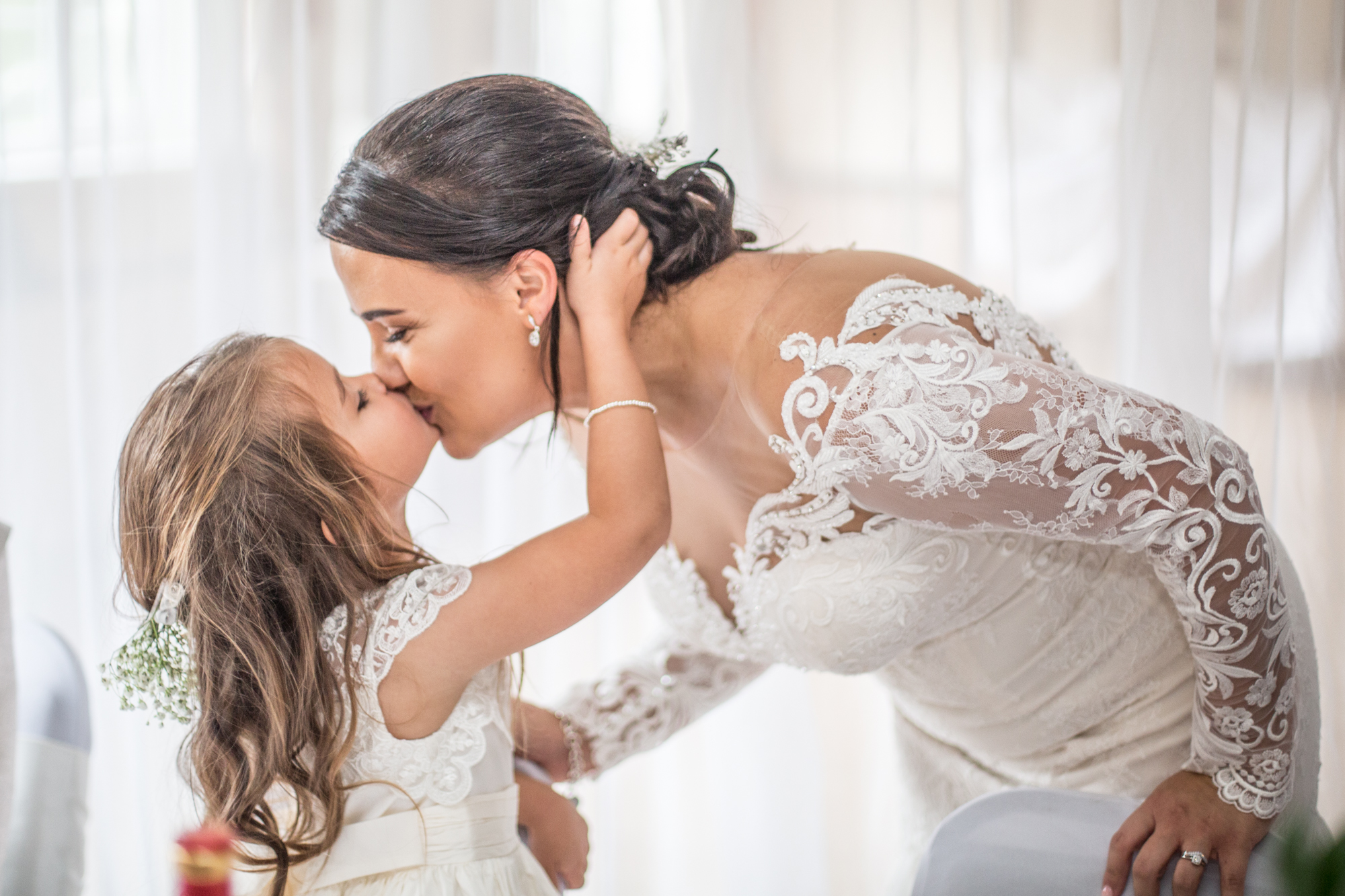 Bride and Daughter Wedding Dress Photography in Swansea