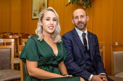 couple await bride's entrance in Swansea's Marriages & Civil Partnerships