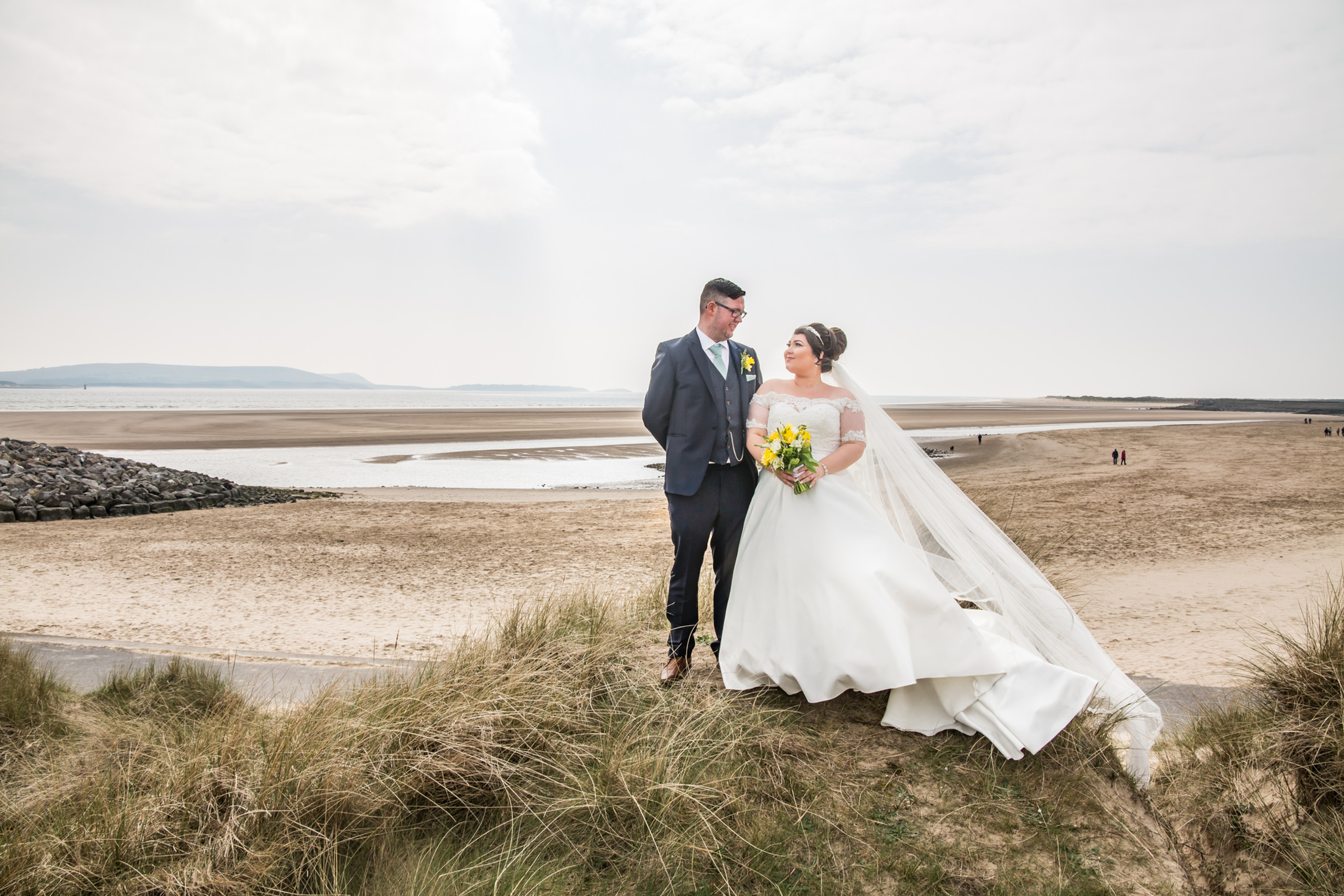 Bride and Groom Photography with the Gower and Swansea Beach at Burry Port