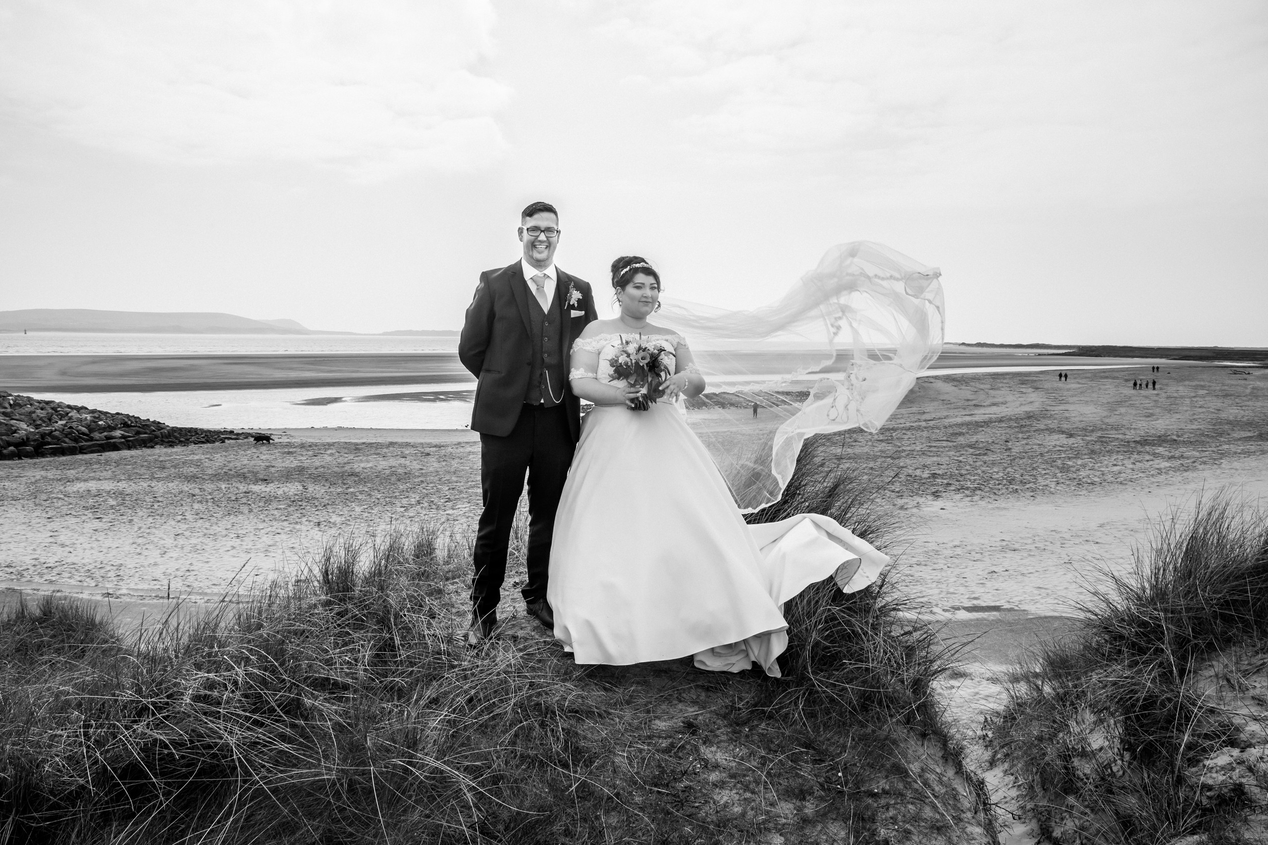 Bride and Groom Veil Photography with the Gower and Swansea Beach