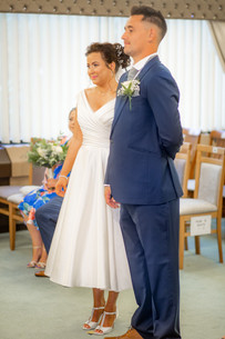 Bride and Groom say vows in Swansea Civic Centre