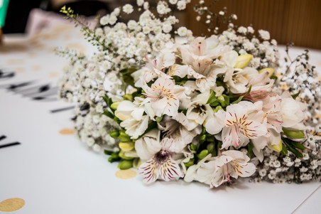 natural white swansea bridal bouquet on a table