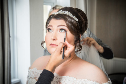 Natural Wedding Photography in Swansea, Carmarthen and The Gower of Bride's makeup