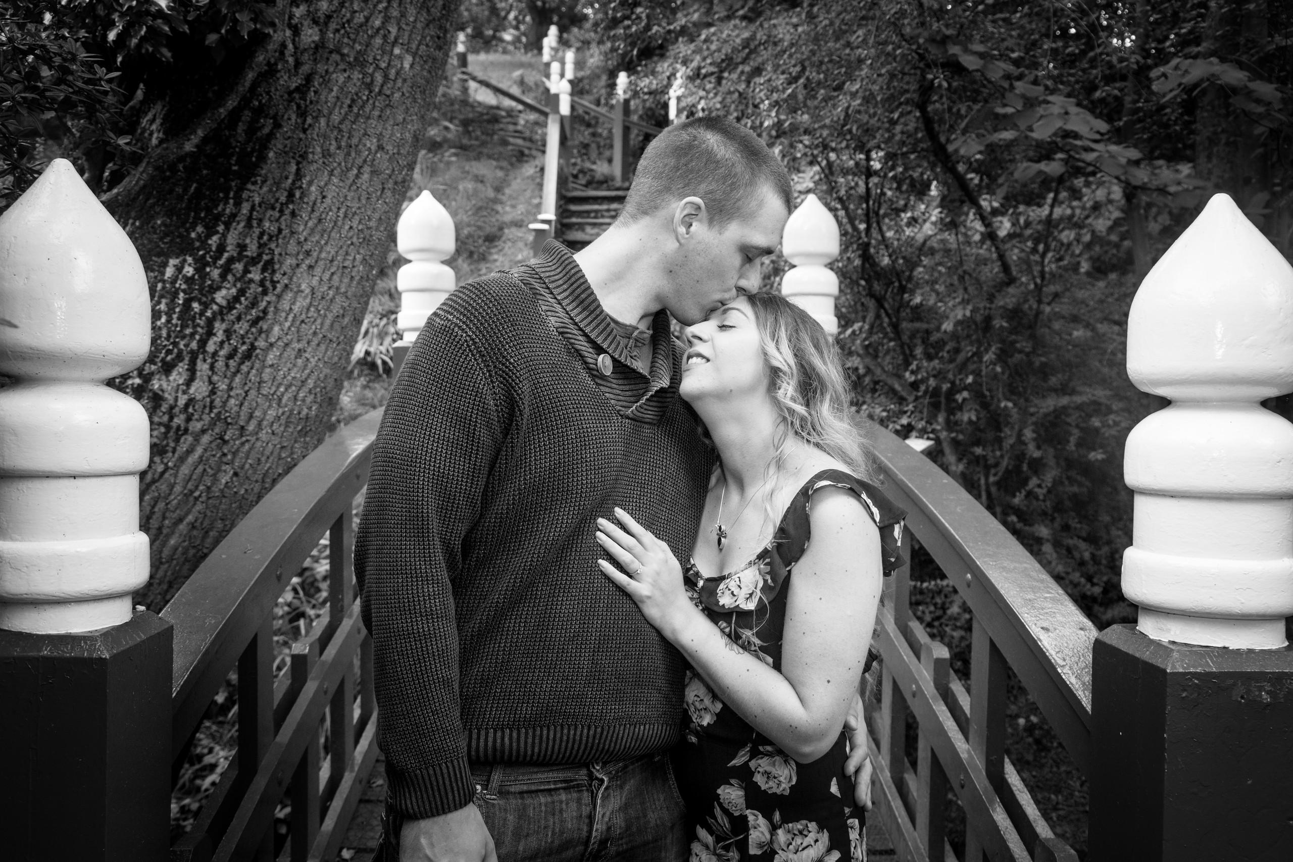 Kissing Bridge in Clyne Gardens Swansea Engagement Session