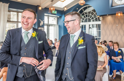Groom and Best man Pose Before Wedding Ceremony Photography in Swansea, Carmarthenshire, The Gower and South Wales