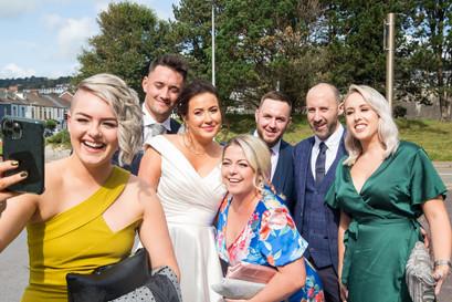 Group selfie of bridal party in swansea