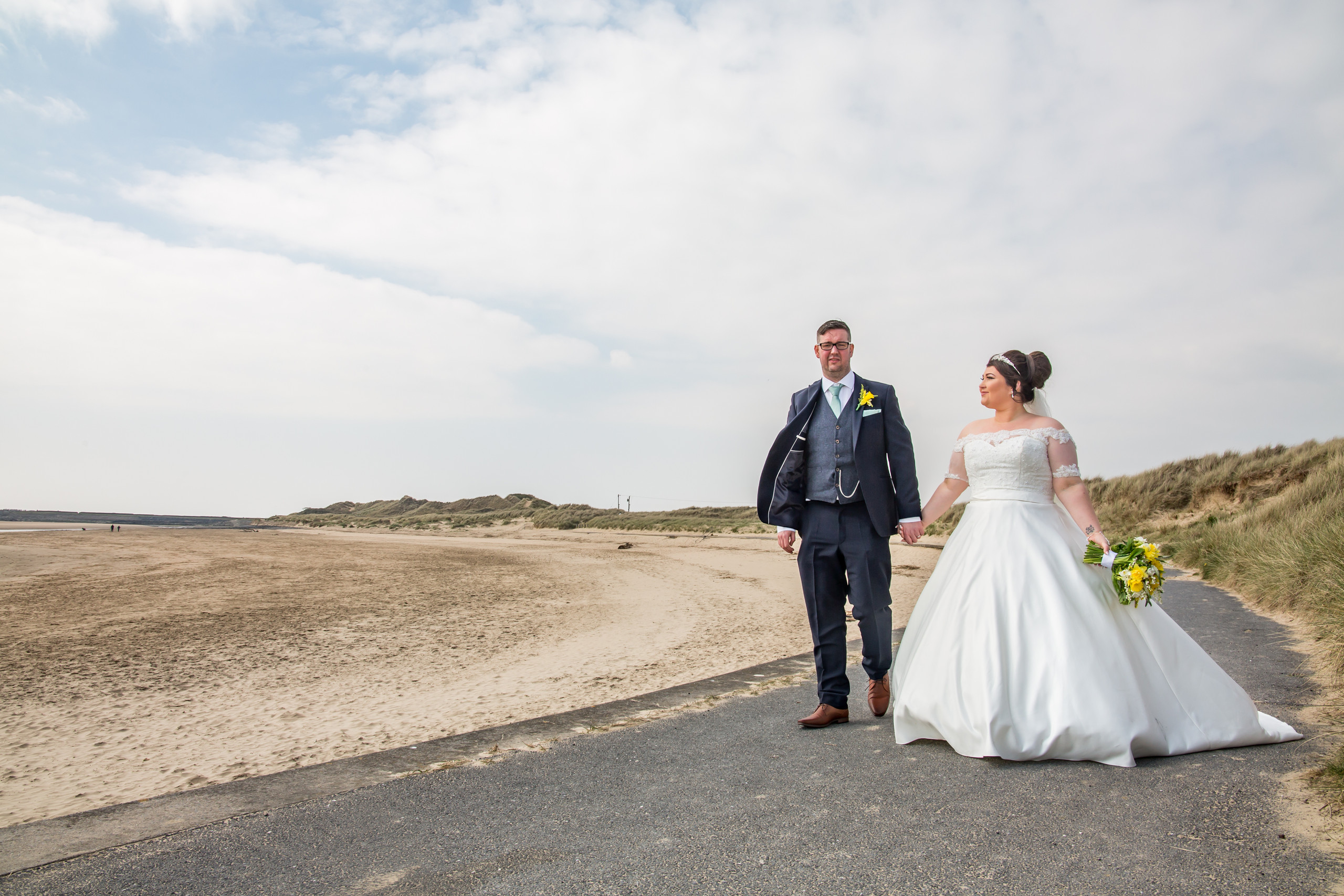 Walking Bride and Groom Photography with the Gower and Swansea Beach