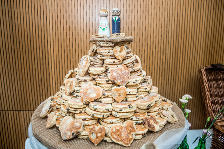 south wales welsh cakes stacked for a wedding breakfast