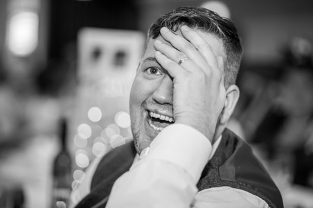 Groom Laughing at Speech at Stradey Park Hotel Llanelli Wedding Photography