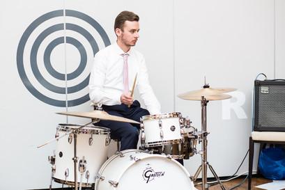 swansea wedding band member playing drums