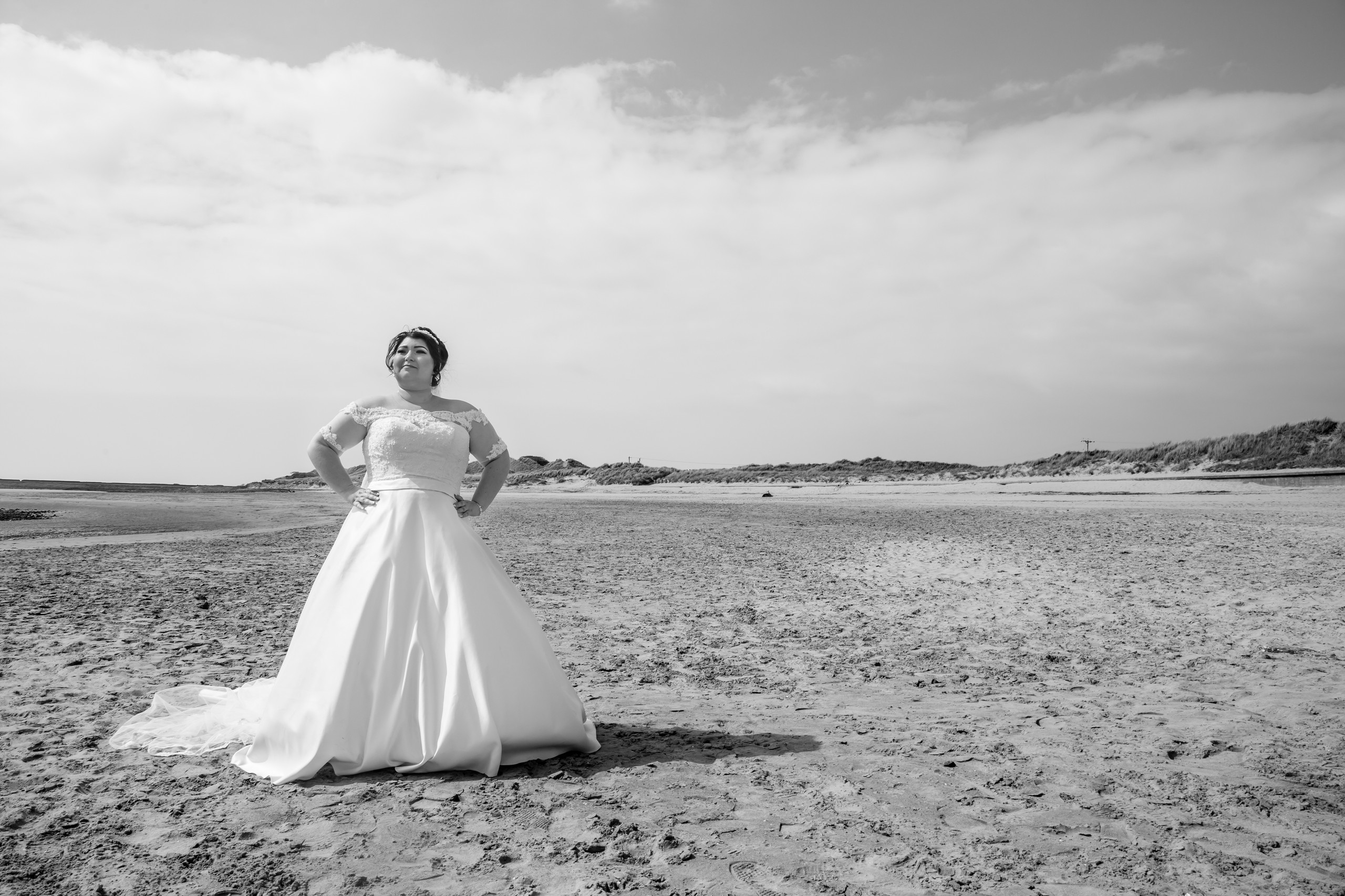 Bride and Dress Wedding Photography with the Gower and Swansea Beach