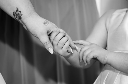 Natural Wedding Photography in Swansea, Carmarthen and The Gower of Bride and Daughter Moment