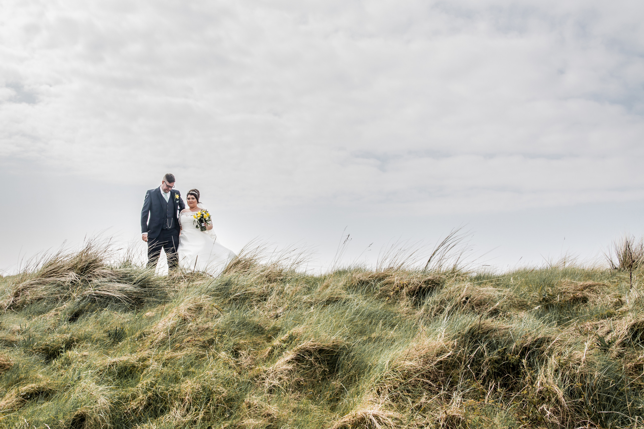 Wedding Photography of Bride and Groom at Burry Port, Llanelli, Carmarthenshire.