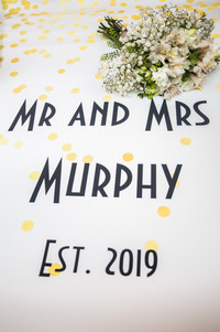 swansea wedding banner with the title of the newly weds