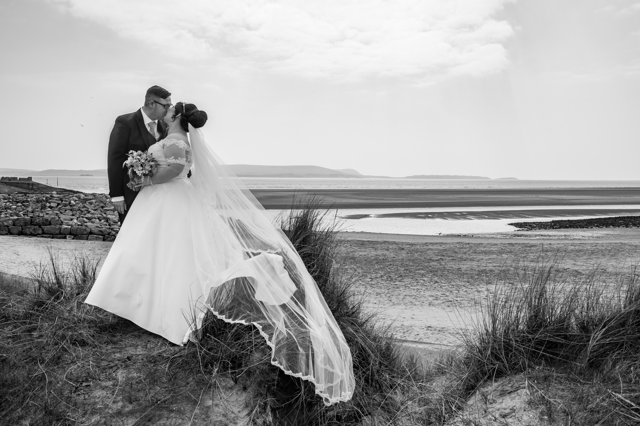 Wedding Kiss on the Beach at Burry Port Harbour, Llanelli, Carmarthenshire
