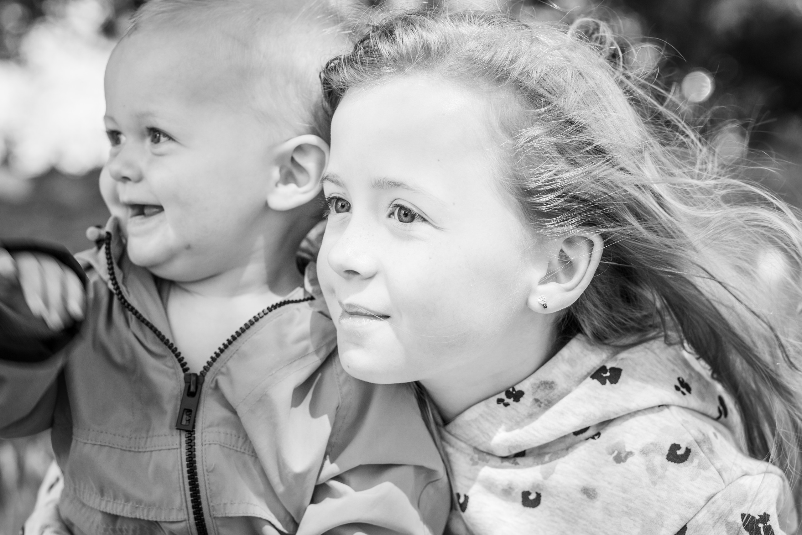 Brother and sister in a black and white photography session in swansea