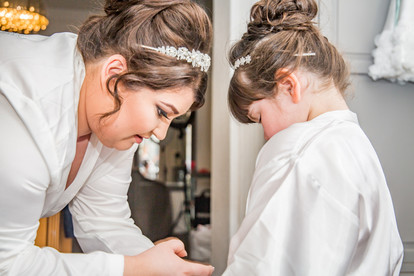 Natural Wedding Photography Photo of Bride and Daughter in Swansea, Carmarthen and The Gower