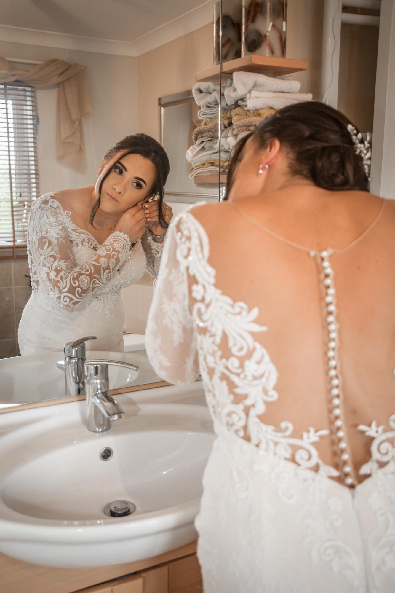 Llanelli Bridal Prep Mirror Wedding Photography