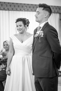 newly weds smiling in swansea civic centre