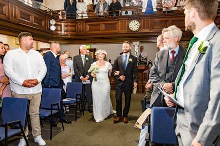 bride enters Swansea church wedding