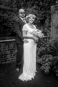 black and white classic wedding photography of bride and groom in the gower