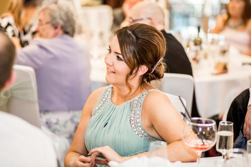 Bridesmaid Laughing at Speech at Stradey Park Hotel Llanelli, Carmarthenshire Wedding Photography