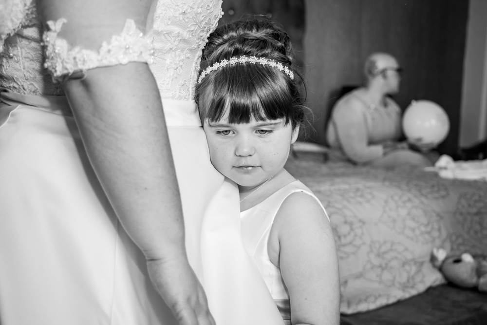 Bride's child Photography Moment Natural Wedding Photography in Swansea, Carmarthen and The Gower